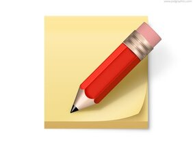 Post-It Note und Bleistift-Symbol (PSD)