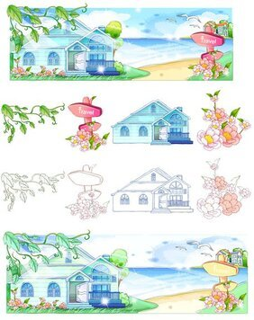 Hand-painted style, summer style series of