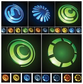 Vector graphic icons three-dimensional circular