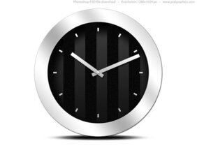 Modern black clock icon (PSD)