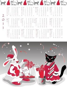 Year Of The Rabbit 2011 Calendar Template