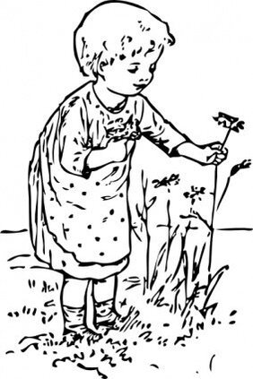 Kid Picking Flowers