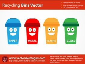 4 recipientes de funky Recycle Bin