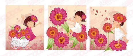 Purple daisy theme (South Korea iClickart Four Seasons cute