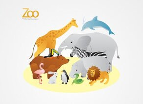 Zoo Animals Vector Illustrations (gratuites)