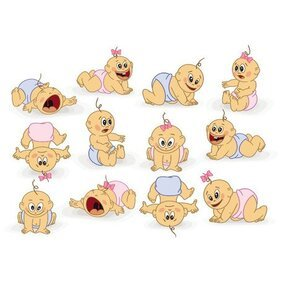 BABIES CARTOON VECTOR ILLUSTRATION.eps
