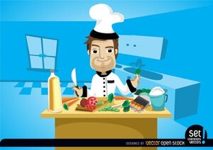 Chef cooking on kitchen table