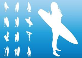 Surfer Girls silhouetten
