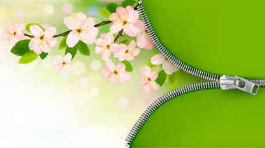 Green pink flower background
