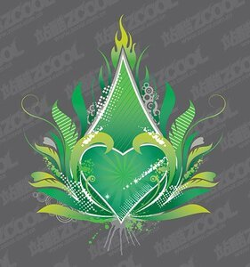 The trend of green heart-shaped flame element vector materia