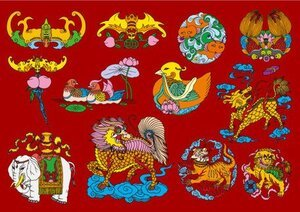 12 Chinese folk auspicious patterns