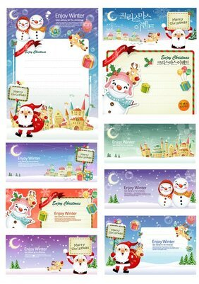 Vector Santa Claus and the panels