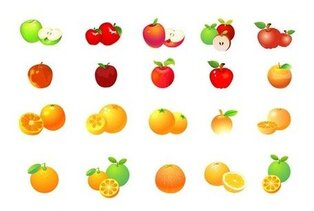 Apple und Orange Vector Graphic Set