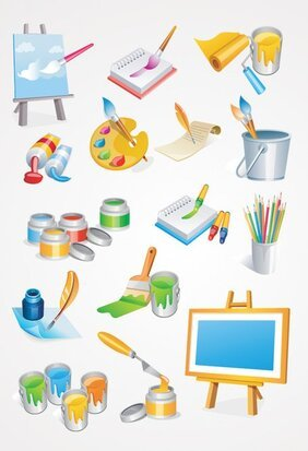 Schilder Tools Vector Icons: Verf penseel & Painting Canvas (gratis)