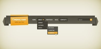 Dropdown Navigation Bar (Free PSD)