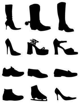 Free Vector Set: 12 Shoes Silhouettes