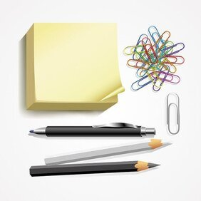 Post-it Notes, stylo, crayon & trombone Set Vector (gratuit)