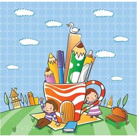 Vector kind 0000028 boek Boy Cartoon