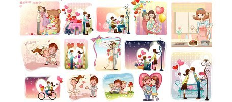 28 Cartoon Love Card Illustrations