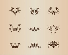 Symmetrical Floral Element Vector Collection