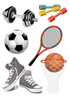 A variety of sporting goods