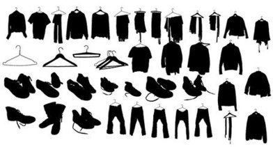 Clothes, shoes, silhouette
