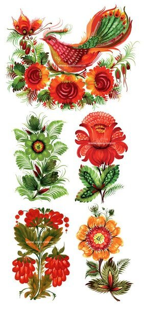 Hand-painted style floral decoration