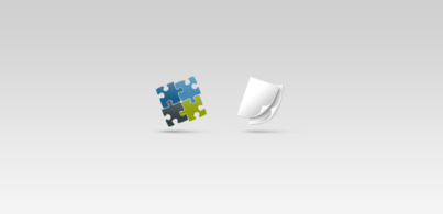 Two shaped icons: puzzle + 2 sheets of paper (Free PSD)