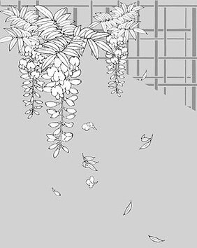 Japanese line drawing of plant flowers vector material -13 (