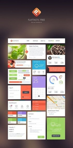 Flattastic Flat User Interface Kit PSD