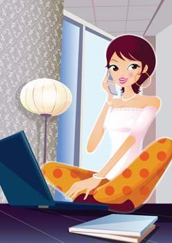 Girls and computer vector 49