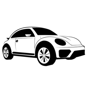 Hand Traced Black & White Volkswagen Dune Sketch