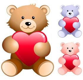 Teddy bear holding heart-shaped