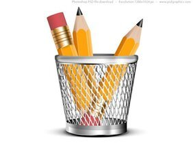 Pencils in a pencil holder, PSD icon