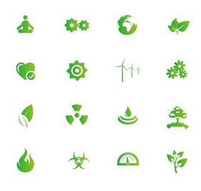 Nature and Environment Green Symbols Vector Set