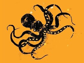 Octopus Retro Print | Black & Orange | Deep Sea Creature