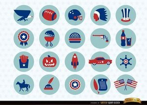 Pack d'emoticones de symboles nationaux USA