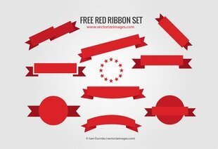 Flat Red Ribbon Banner Set