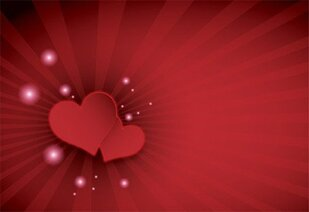 Happy Valentine's Day Red Hearts on Sunburst Background