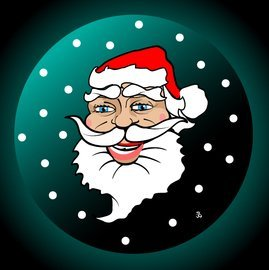 Funky Illustrated Santa Claus Face