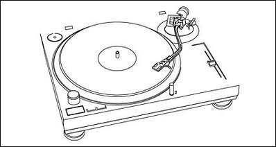 Music can not stop - plastic disc player line drawing