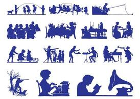 Retro People Silhouettes Graphics