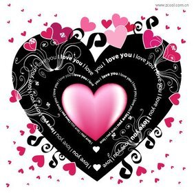 The black heart-shaped elements of