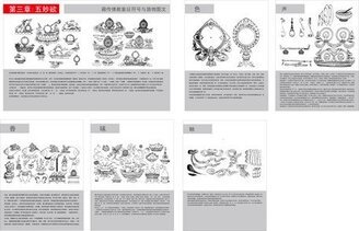 Tibetan Buddhist symbols and artifacts diagram of the three