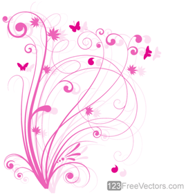 Vector Floral Design 5 - Pink Floral Background