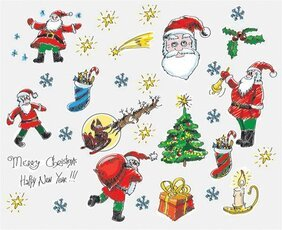 Elements of style, hand-painted Christmas Cartoon Vector mat