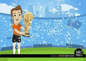 Calciatore con FIFA World Cup Trophy