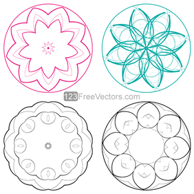 Vector Circle Decorative Design Elements Set-1