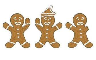 three gingerbread men for christmas cards / koekmannen voor kerstkaarten