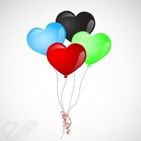 Vector Heart Shape Balloons